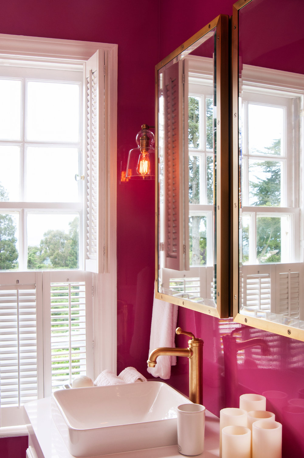 Pink Lacquer Bathroom