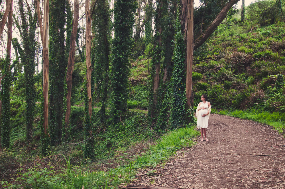 Pregnant Woman in Eucalyptus Forest