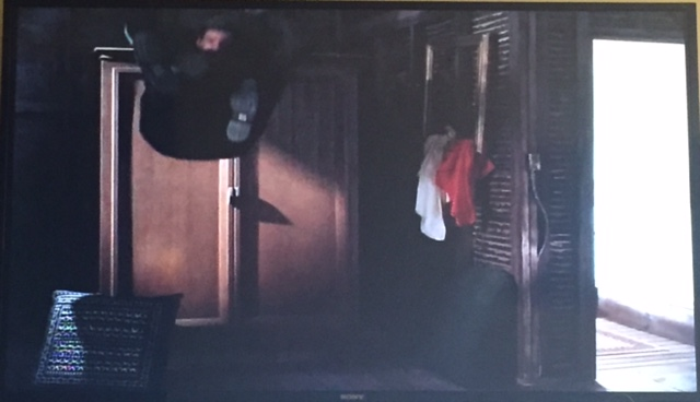 Nicholas gets thrown into a wardrobe...