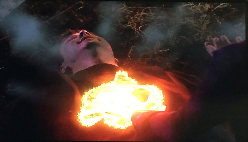 He starts to burn...