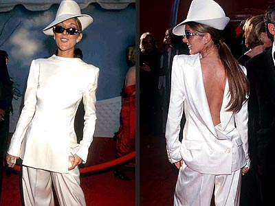 Celine Dion's backward suit.