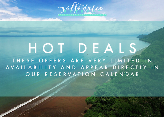 HOT deals - We occasionally offer special extra discounts during the year which could range from 15% off for the One-bedroom Cabinas and up to 25% off for the Cabina Suite. There is no need to enter a promotional code for these offers; they will just pop-up once you select your preferred dates.HOT Deals are marked 🔥 in our reservation calendar so it's easy to spot them!