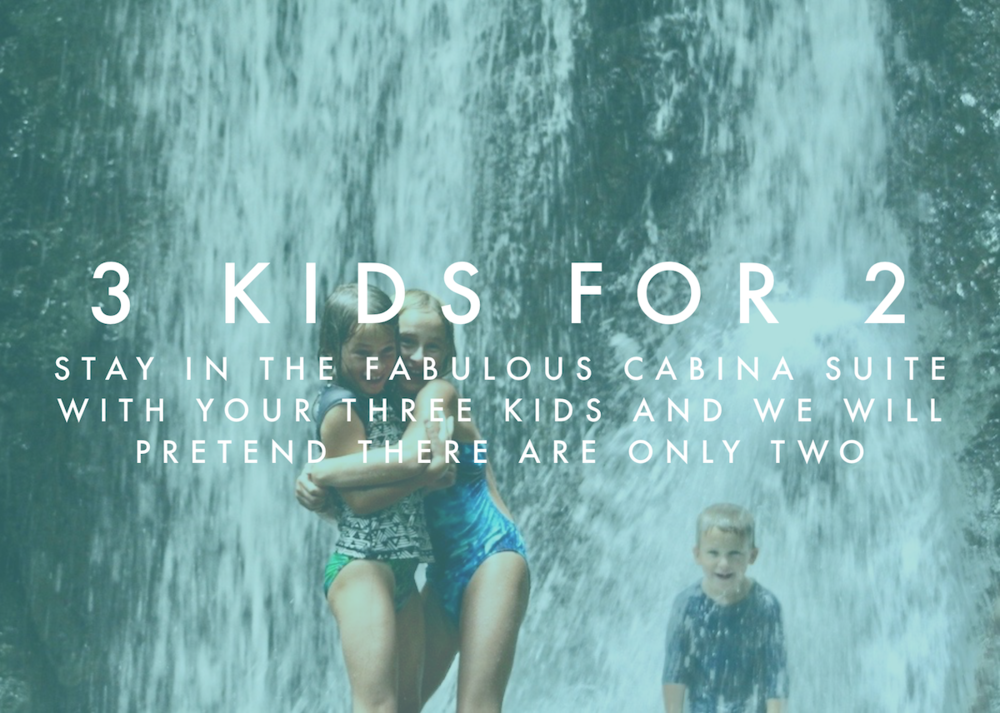 Three kids for two - This limited offer is valid for three kids (children and teenagers up to the age of 20) sharing the Cabina Suite with two adults for a total occupancy of five people. The offer is applicable to the youngest of the kids and it can be used in conjunction with packages, promotions and excursions.In order to access this offer simply book a stay in the Cabina Suite for the two parents and two children and let us know about the third in the comment box.