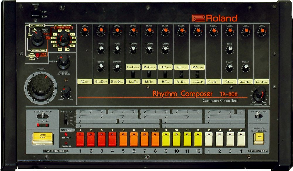 Picture of a Roland TR-808, picture taken from Wikipedia's page for the instrument.