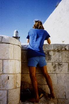 Team Member Aiden Glendinning photographing in Old City Jerusalem, summer 1990