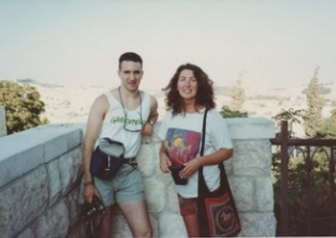 Eleanor Scott and team member Phil Supple at the British School of Archaeology in Jerusalem, summer 1990