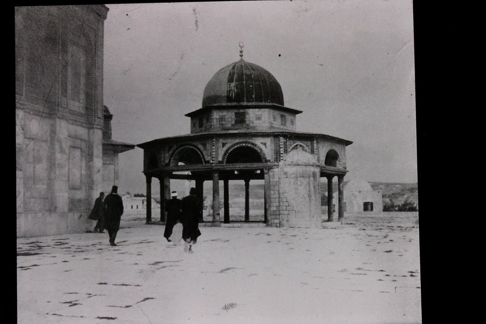 Gertrude Bell's photograph of Qubbet Al-Silsila (The Dome of the Chain), December 1899. Catalogue number A48.