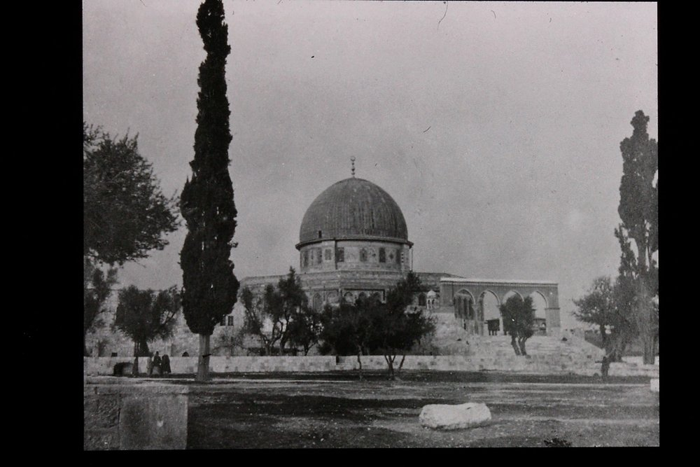 Gertrude Bell's photograph of the Dome of the Rock, view from Moroccans Gate. December 1899. Catalogue number A44.