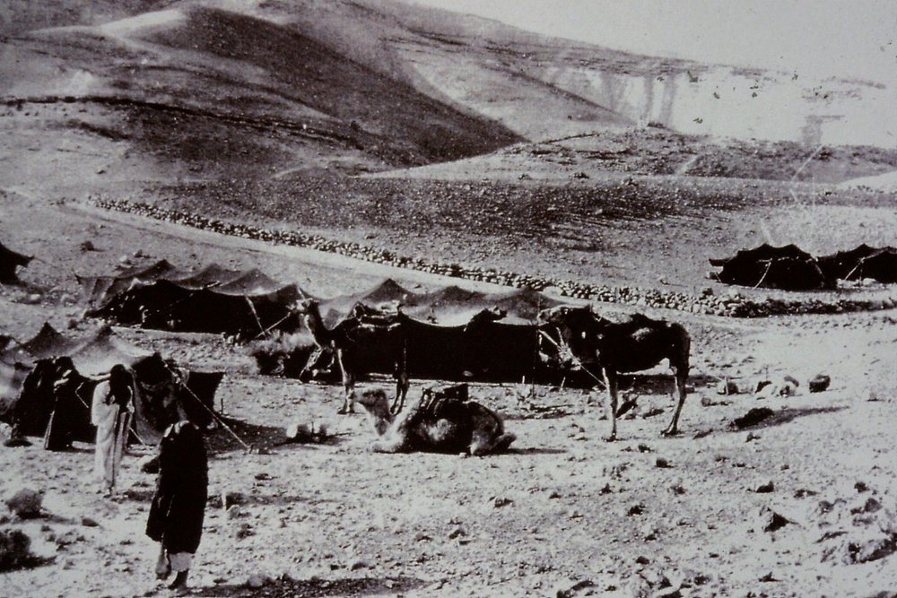 Gertrude Bell's photograph of Bedouin encampment, near Mar Saba, 1900. Catalogue number A477.