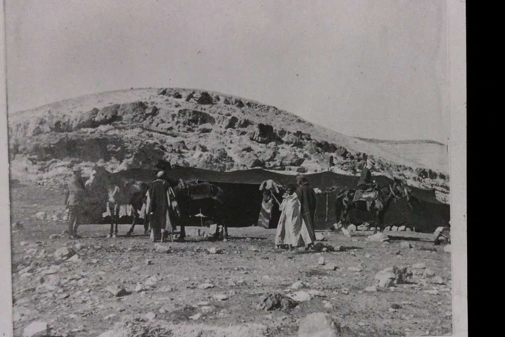 Gertrude Bell's photograph of Bedouin encampment, near Mar Saba, 1900. Catalogue number A474.