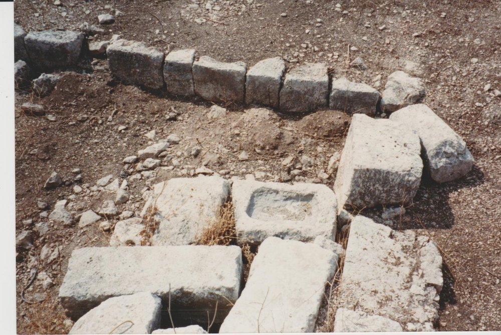 There were already signs of clearance of wall lines and pre-excavation at the site of Deir Samaan in 1990. Credit: Eleanor Scott