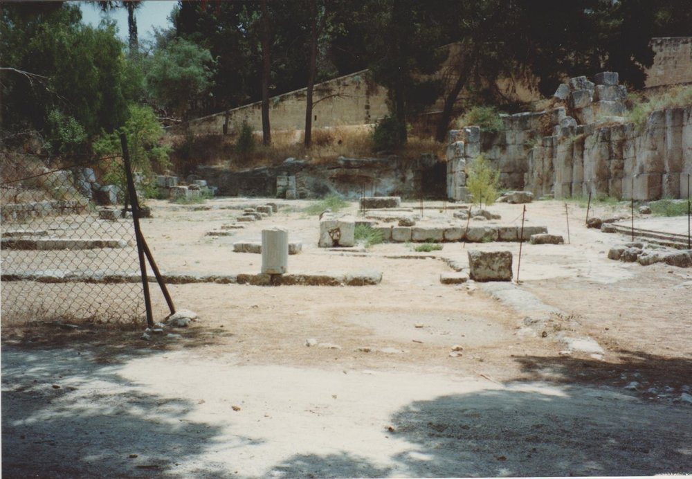 The Roman 'villa' close to the Roman-Byzantine bathhouse at Latrun. Summer 1990. Credit: Eleanor Scott