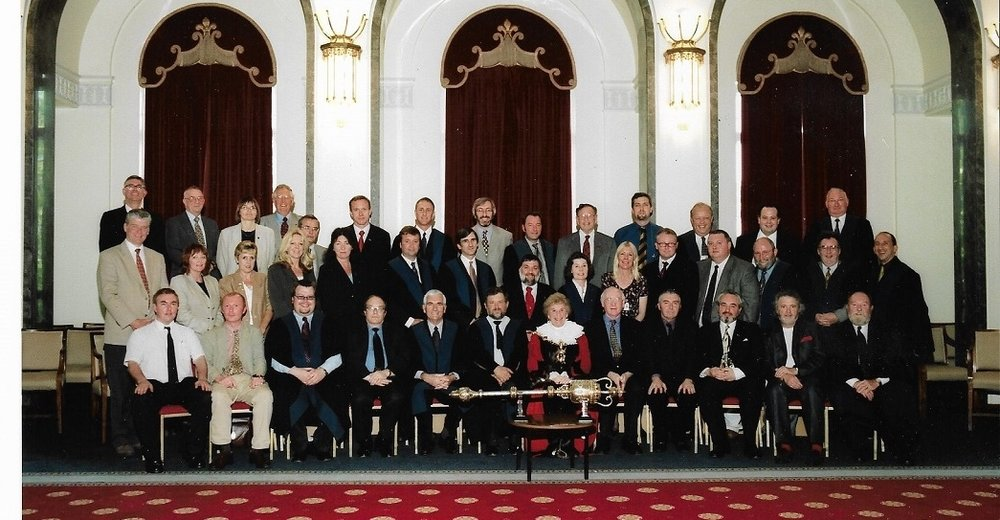 Portsmouth City Council, the Class of 2002/03. I'm in the front row standing, 5th from left, next to Jacqui Hancock. My ward colleagues Mike Hancock and Phil Shaddock are front row sitting, 2nd and 4th from right respectively. Hancock sports his trademark red hankie. Photo: Media Team, Portsmouth City Council