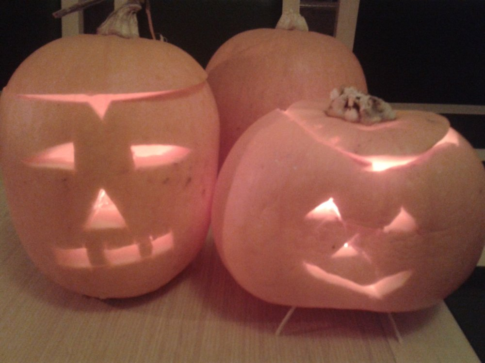 Home-grown pumpkins make Hallowe'en lanterns