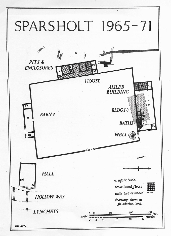 Sparsholt Roman Villa. Source: D E Johnston 1972 The Sparsholt Roman Villa, revised edition fig 1.