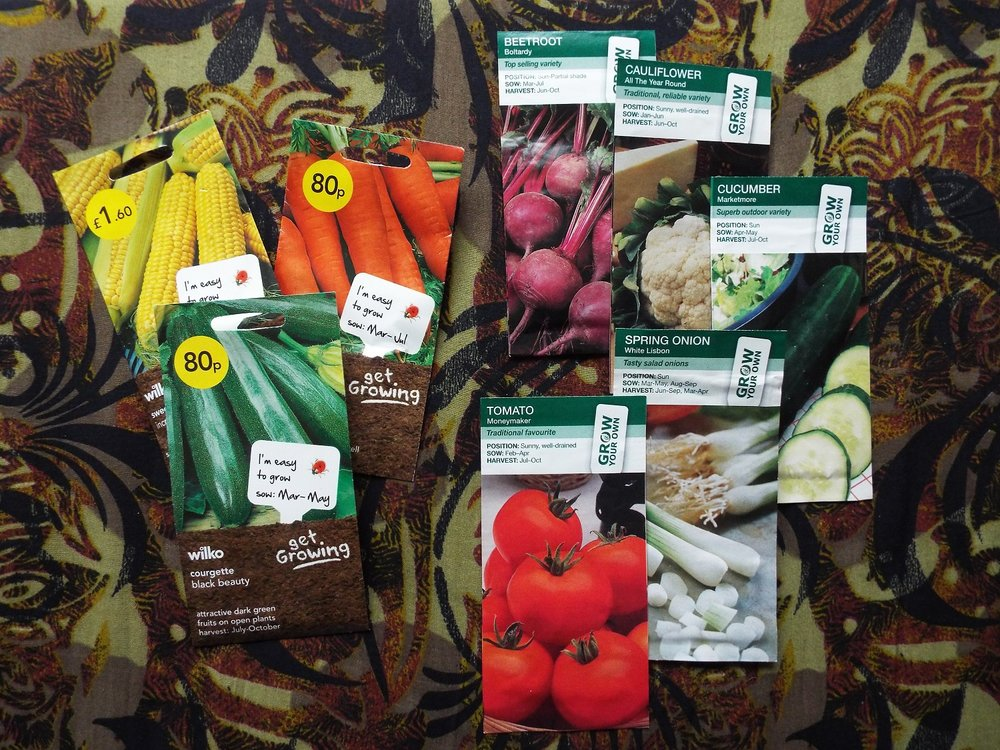 Seeds - end of season prices, 1p packet of courgettes at Wilko, 19p packets of seeds at Aldi
