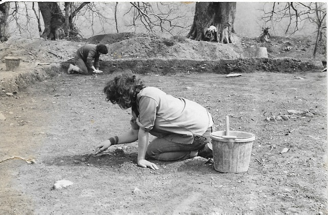 Me, trowelling, looking for Iron Age postholes - Easter 1981 at Castell Henllys, Pembs
