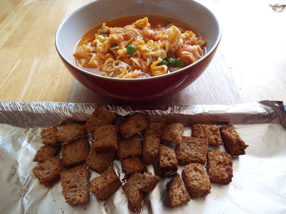 Noodle soup & rye croutons