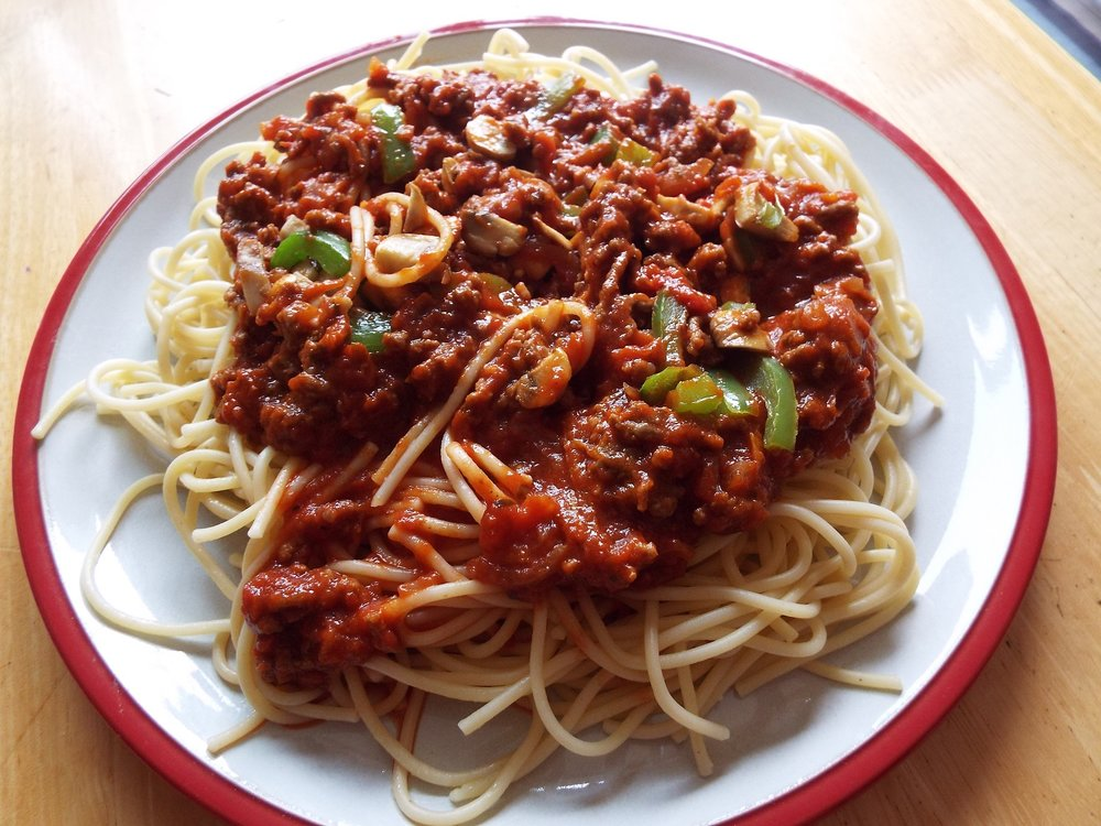A very popular dig dish - spaghetti bolognese