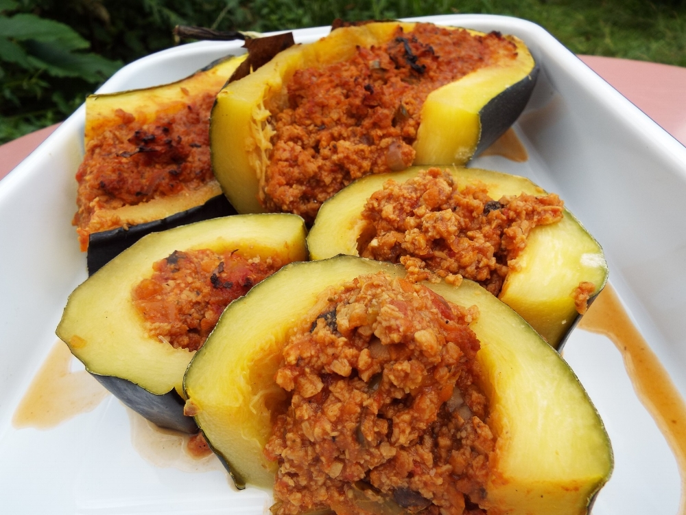 Marrow stuffed with vegan bolognese
