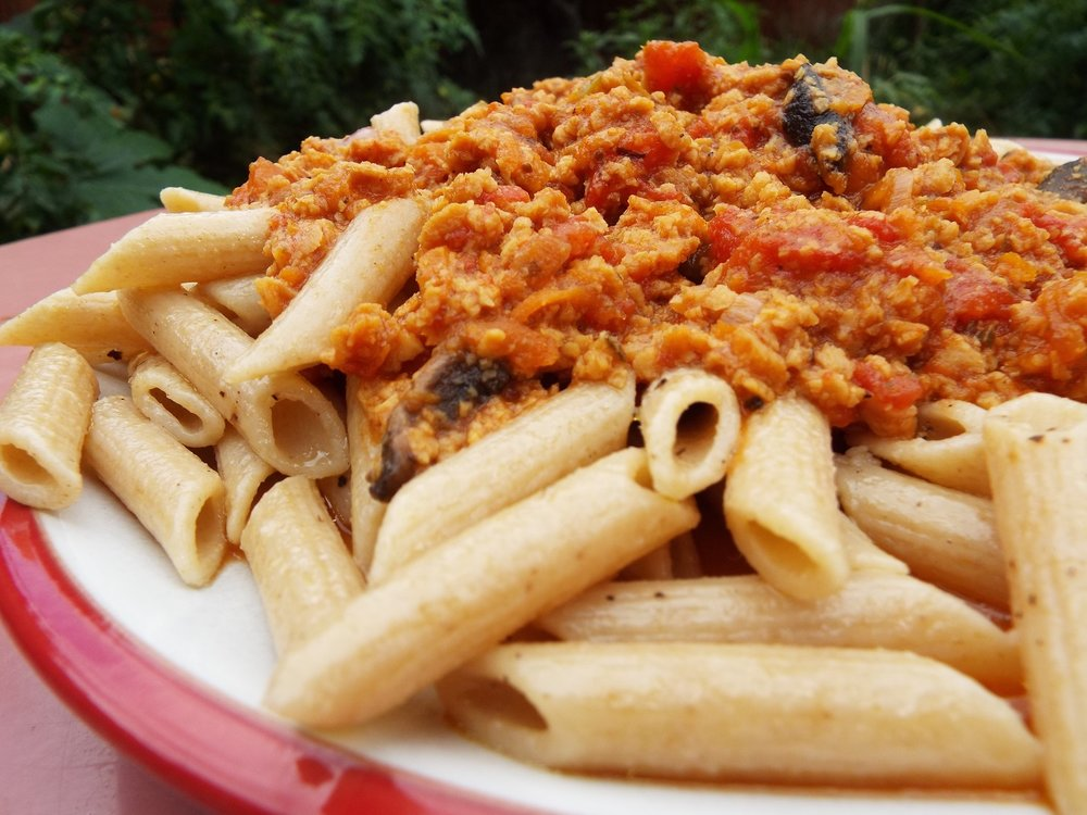 Wholemeal Pasta Bolognese - Pretty much all dried pasta is vegan. This is wholewheat pasts served up with the vegan bolognese.Vegan; vegetarian; health-aware