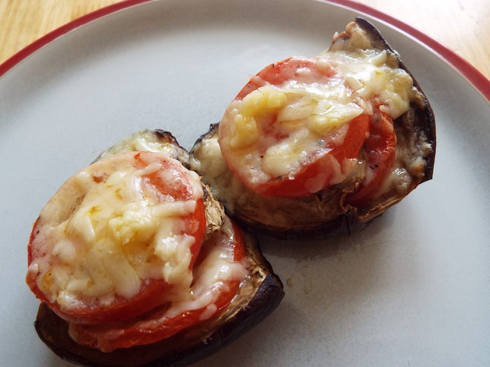 Vegan stuffed aubergine