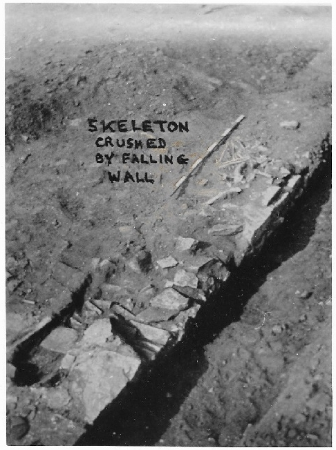 Norton Disney late burial (Oswald 1937 - 'skeleton crushed by falling wall' - caption hand-written on photo as published).