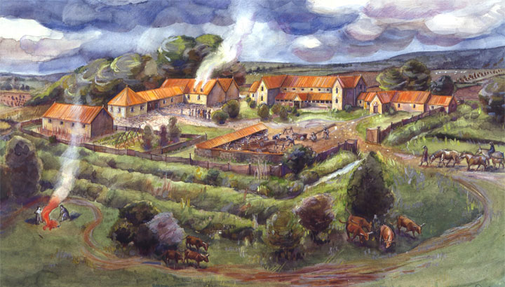 Idealised painting of an idealised type of site - Gargrave (Kirk Sink) Roman villa (credit: Historic England)