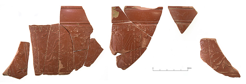Samian pottery sherds (Credit: Cotswold Archaeological Trust)
