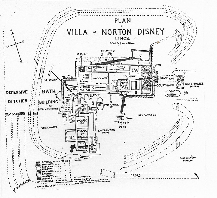 Oswald's published plan - the 'defensive ditches' are the subject of scepticism today, as is the bath building plan. (Oswald A 1937 'A fortified villa at Norton Disney, Lincs' in  Antiquaries Journal  17.)