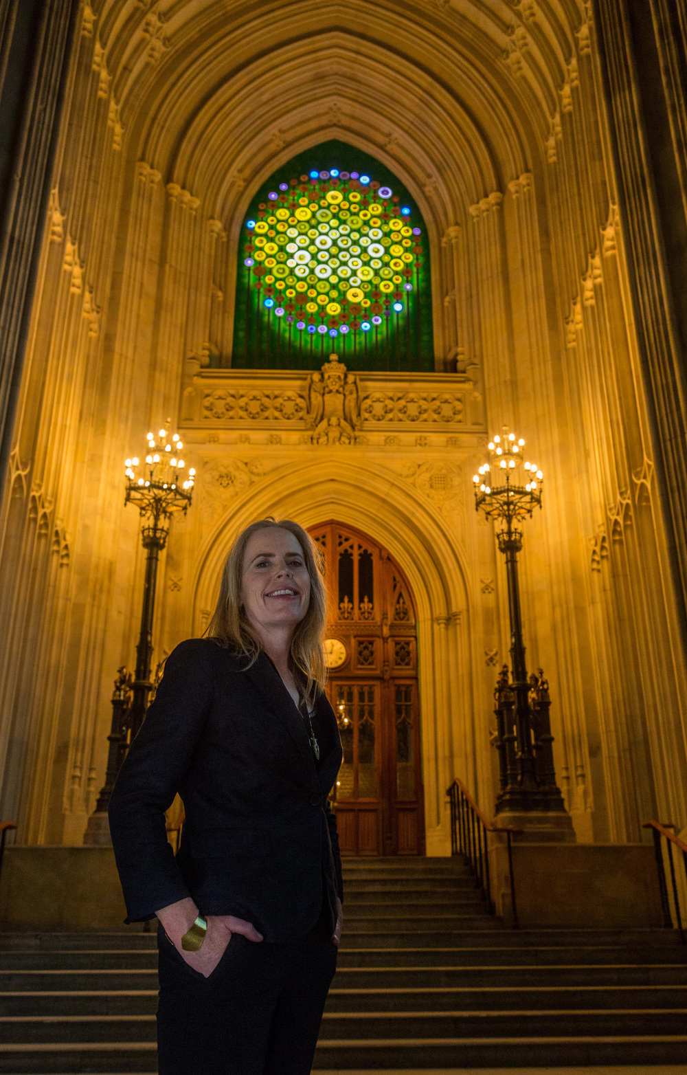 New Dawn, a contemporary sculptural light installation celebrating Women's Suffrage in the Houses of Parliament, London by Mary Branson.
