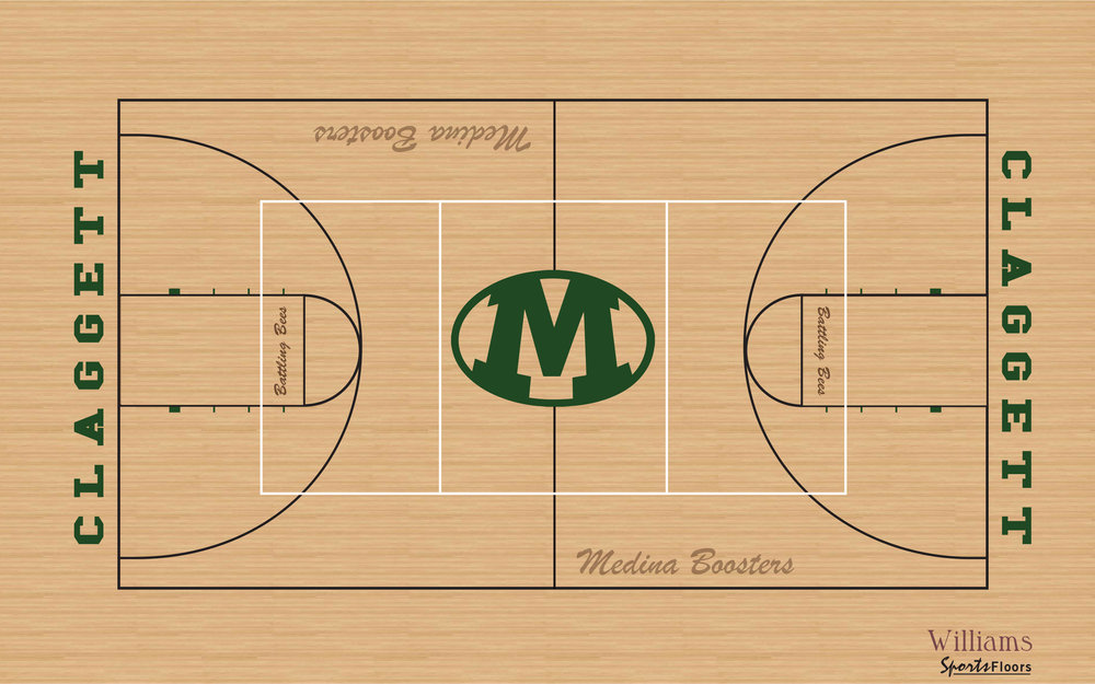 Proposed new look for the Claggett Middle School gym floor to be completed in summer of 2019.