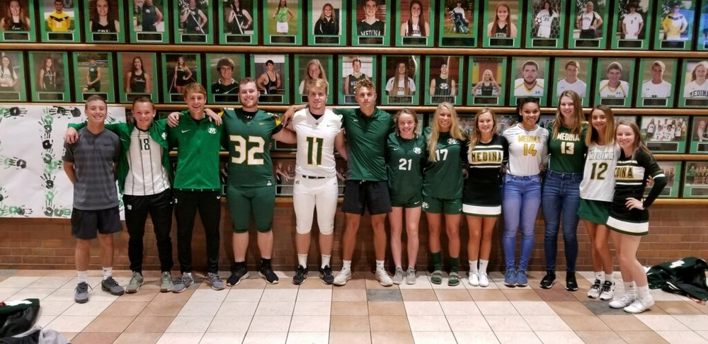 Members of each of the Medina High School teams sporting new uniforms in the 2018-2019 school year.