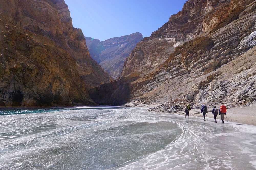 The vast expanse of ice... which were mostly flat at the chadar trek in ladakh