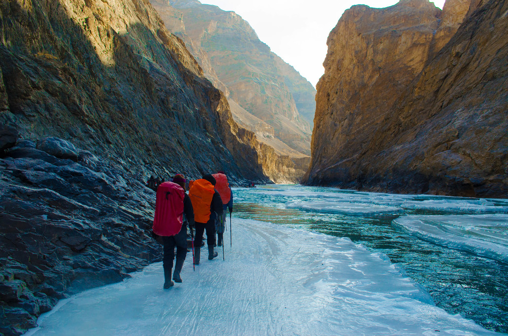 The edge of heaven. Carefully treading through paths of ice to avoid the frozen death while trekking in ladakh. PC: Raunak