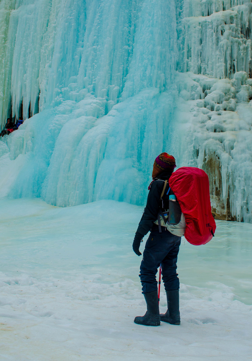 The frozen waterfall during the chadar trek in ladakh