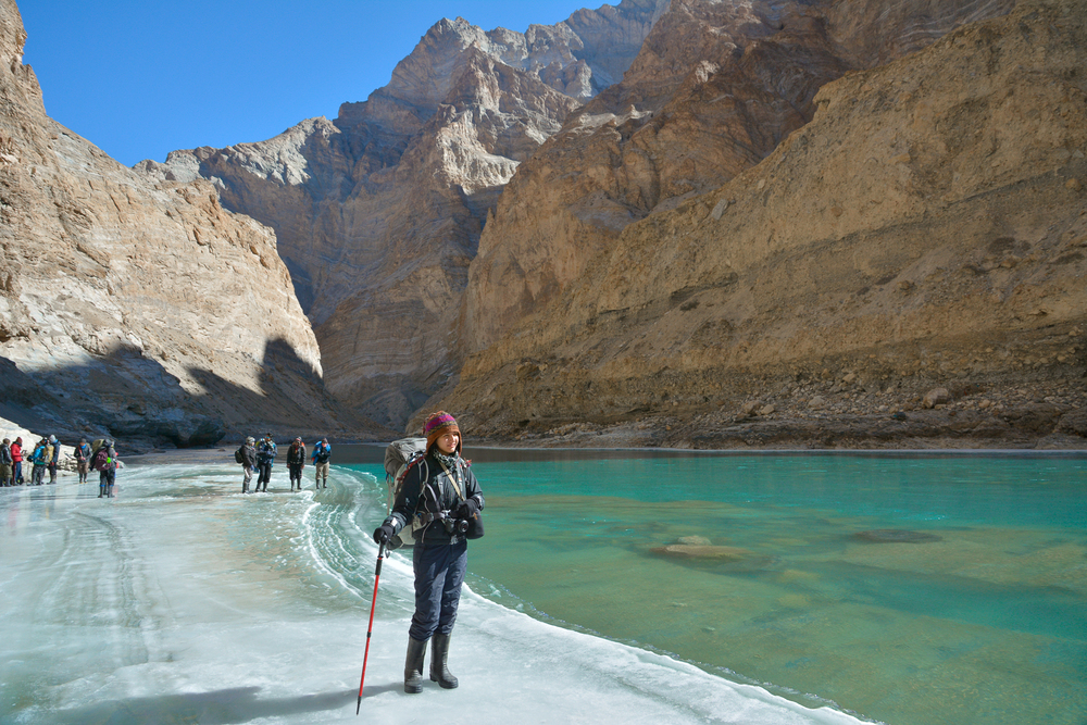 Stupendously beautiful waters at the chadar trek in ladakh, and my moment of reflection. PC: Amitayu