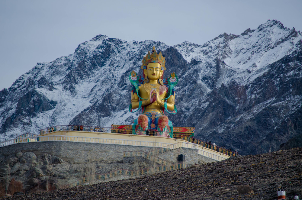 The 32 metre statue of Maitreya Buddha near Diskit Monastery facing down the Shyok River towards Pakistan. PC: Raunak