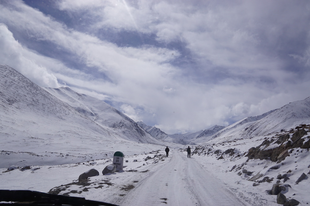 Winter in Ladakh and Stunning mountain views on our way to Khardung La. Solitude is a thing and I wouldn't mind being the only soul here.