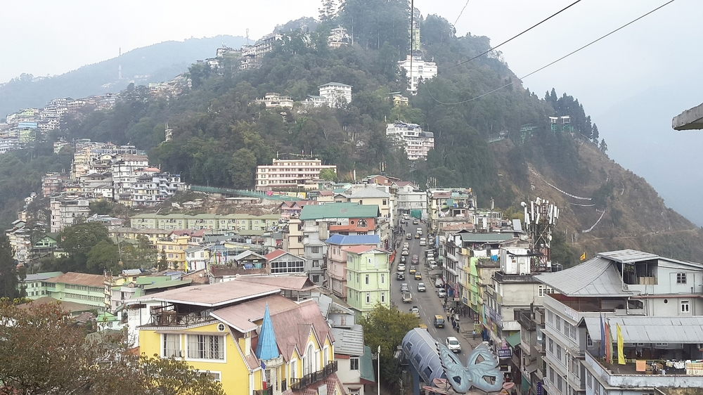 A bird's eye view of gangtok from the ropeway cable cars. Doesn't it look like a toy city?