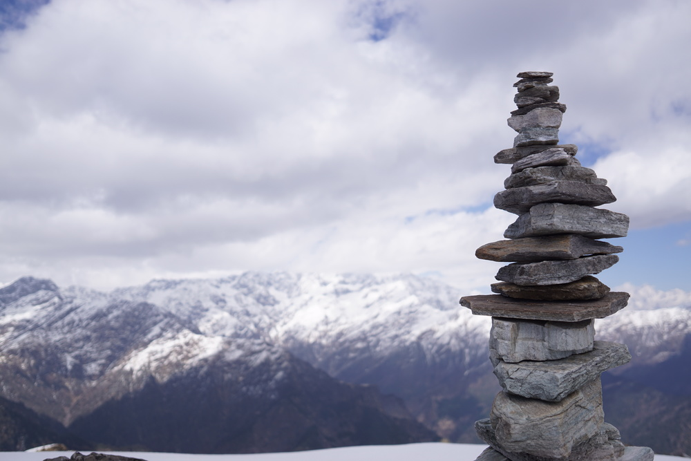 The zen of life. Stones stacked harmoniously to claim the ordinary moments of life, and an enduring echo of the prayers and wishes of everyone who visit the mountains here.