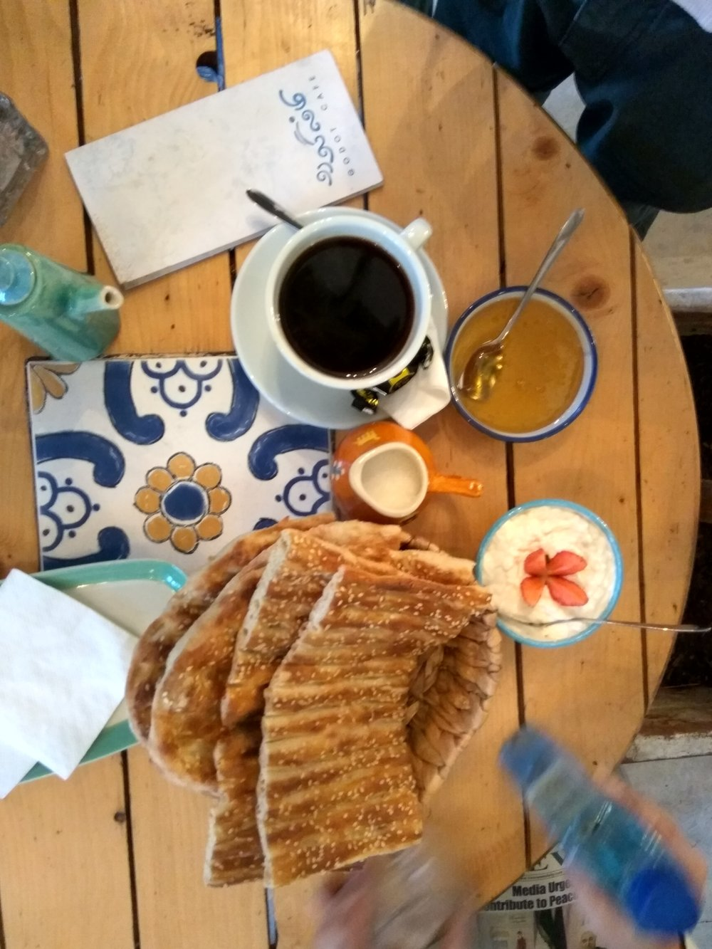 Fancy, a French-Iranian breakfast with some honey and Barbari bread.