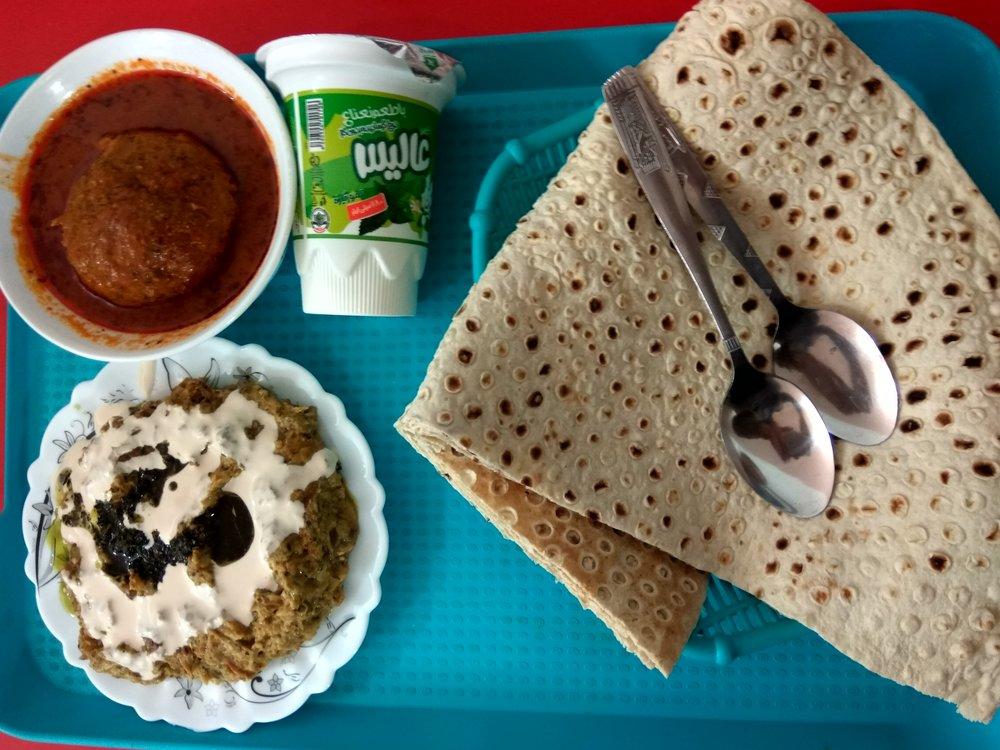 Koofteh, creamy lamb curry, Sangak (bread) and Doogh