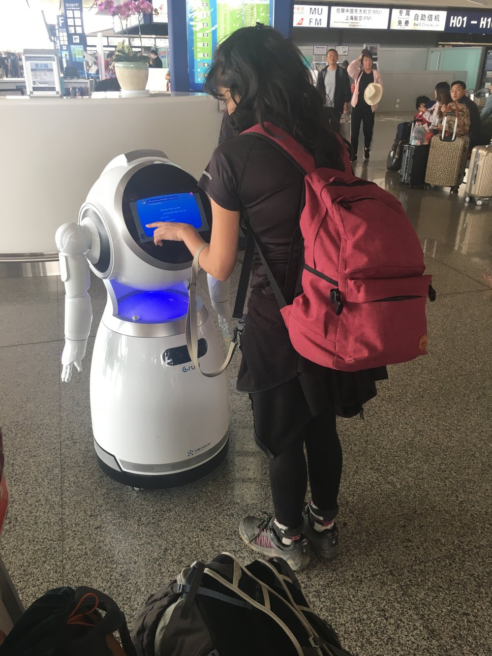 The robot can dance, sing along and help you find yourself in the airport only at normal hours, not past midnight.