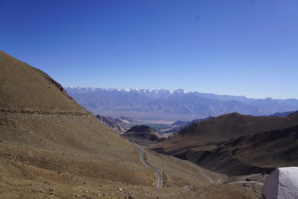 Something so deeply satisfying about riding the roof of the world or the highest motorable road in the world and stopping to just take a look at the mighty Himalayas