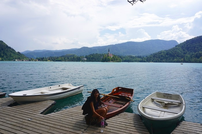 Take a boat ride to the little island in Slovenia.