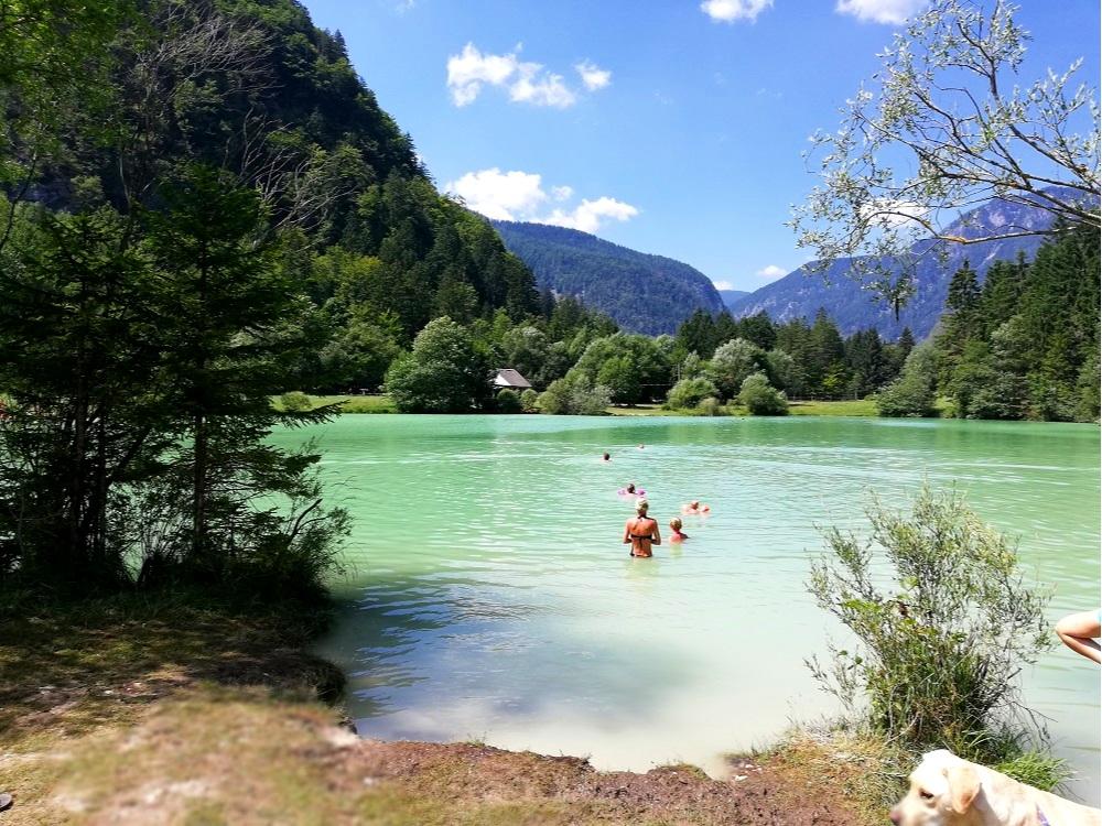 Lake Kredna in Radovna Valley, the only man-made chalk lake.
