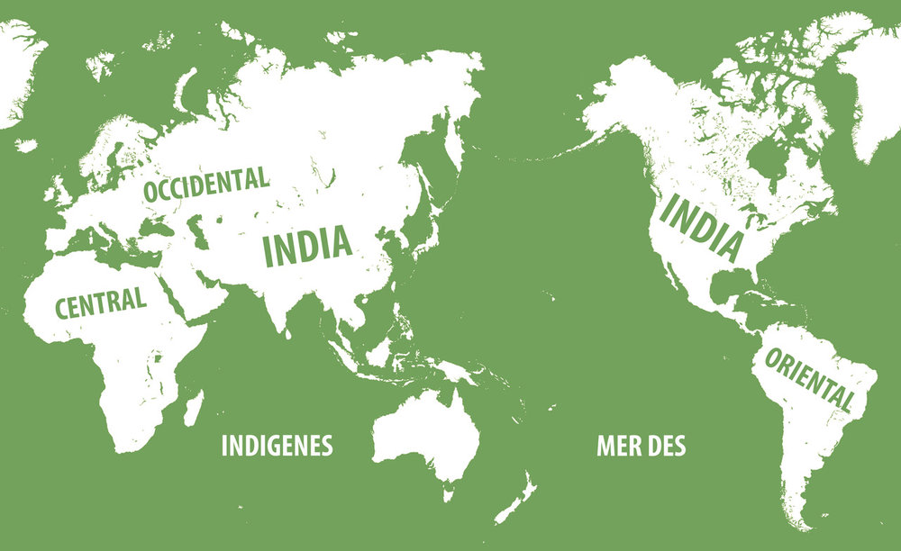 Pedro Lasch,  Global Indianization / Indianización Global  (2009/2018). Map, dimensions variable. Courtesy of the artist