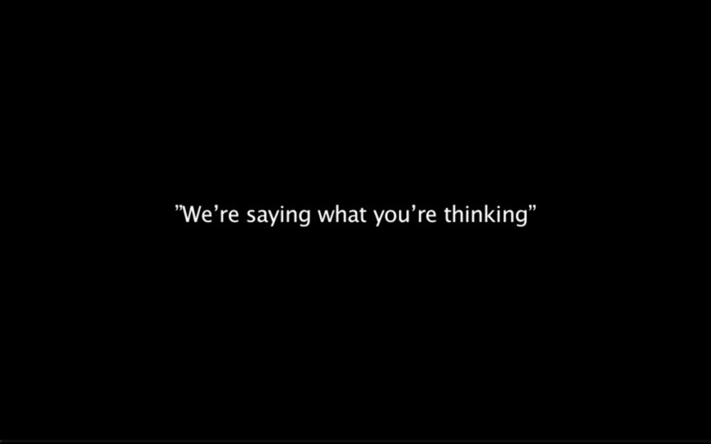 Stilbilleder fra videoinstallationen  Vi siger hvad I tænker