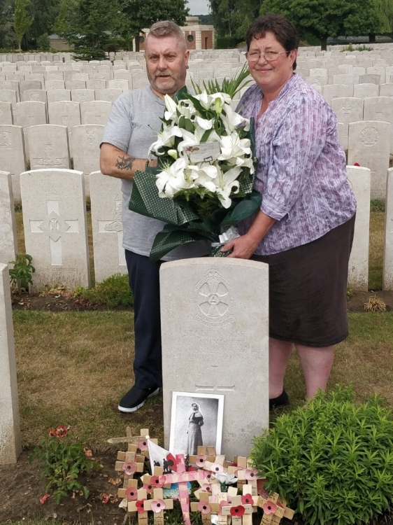 Mr and Mrs Neil anderson of wakefield visiting Nellies Grave in flanders